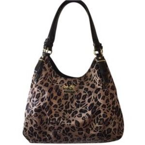 Coach Boho Leopard Leather Fashion Shoulder Bag